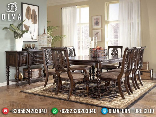 Set Meja Makan Minimalis Klasik Jati Natural Best Furniture Jepara ST-0920