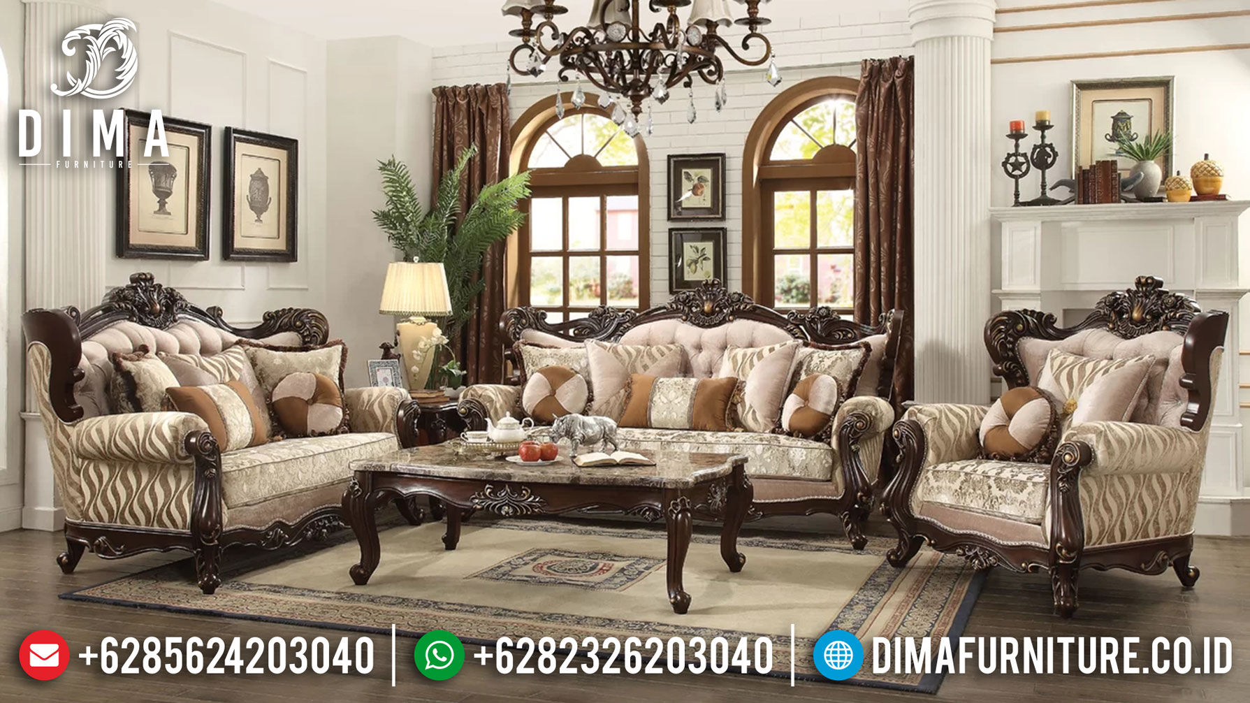 Set Sofa Tamu Mewah Ukiran Klasik Furniture Jepara Terbaru Luxury Style ST-0979