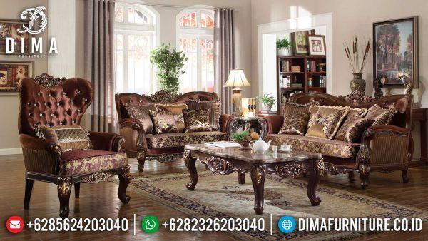 Classic Sofa Tamu Mewah Terbaru Luxury Carving Natural Jati Perhutani ST-1011