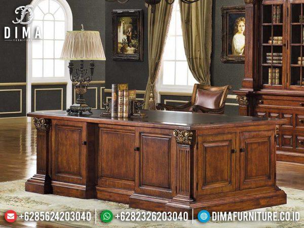 Desain Meja Kerja Minimalis Mewah Classic Natural Jati Perhutani Best Quality ST-1051