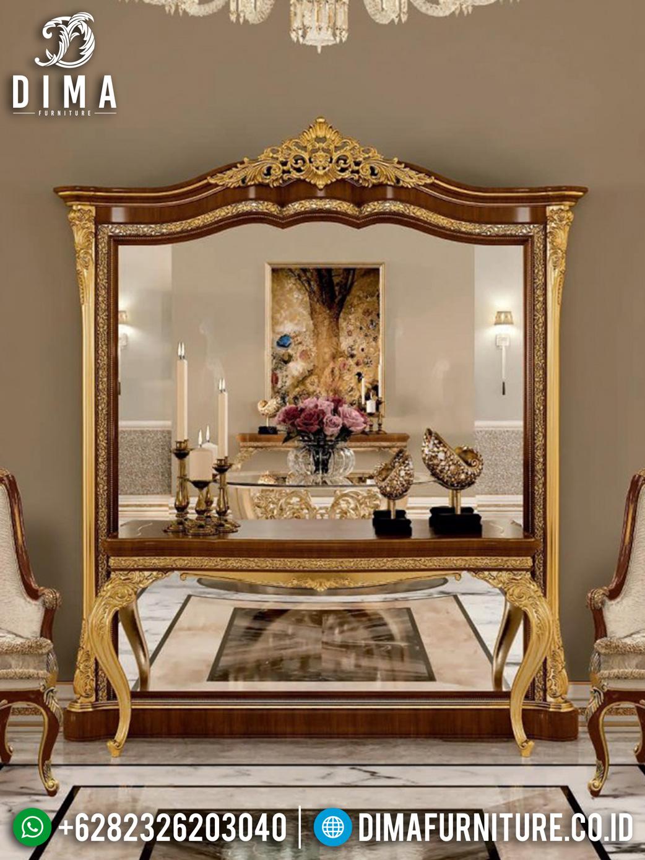 Desain Meja Konsol Mewah Ukiran Luxury Golden Combination Natural Jati ST-1043
