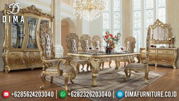 Elegant Claudia Style Meja Makan Mewah Jepara Golden Shine Glossy Luxury ST-1053