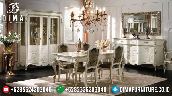 Flash Sale Meja Makan Mewah Jepara White Duco Luxury Carving Product ST-1054