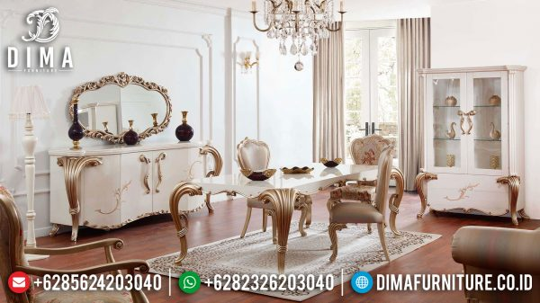 Great Sale Kursi Meja Makan Mewah Set Luxury Carving Golden Duco Combination ST-1037
