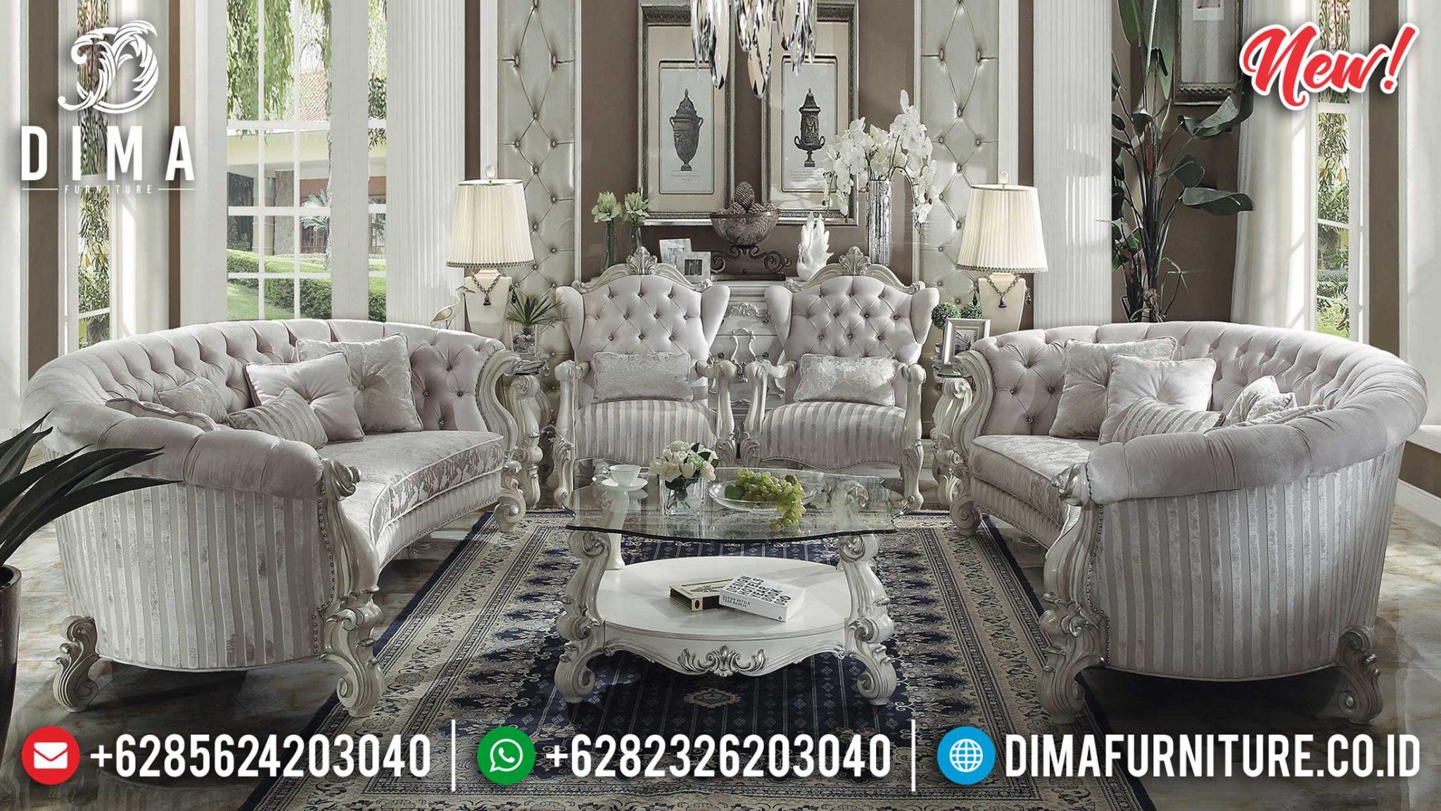 Harga Sofa Tamu Mewah Jepara Luxury Carving Soft Fabric Best Quality ST-1007