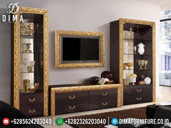 Inspiring Design Bufet TV Minimalis Mewah Golden Carving Luxury Jepara ST-1022