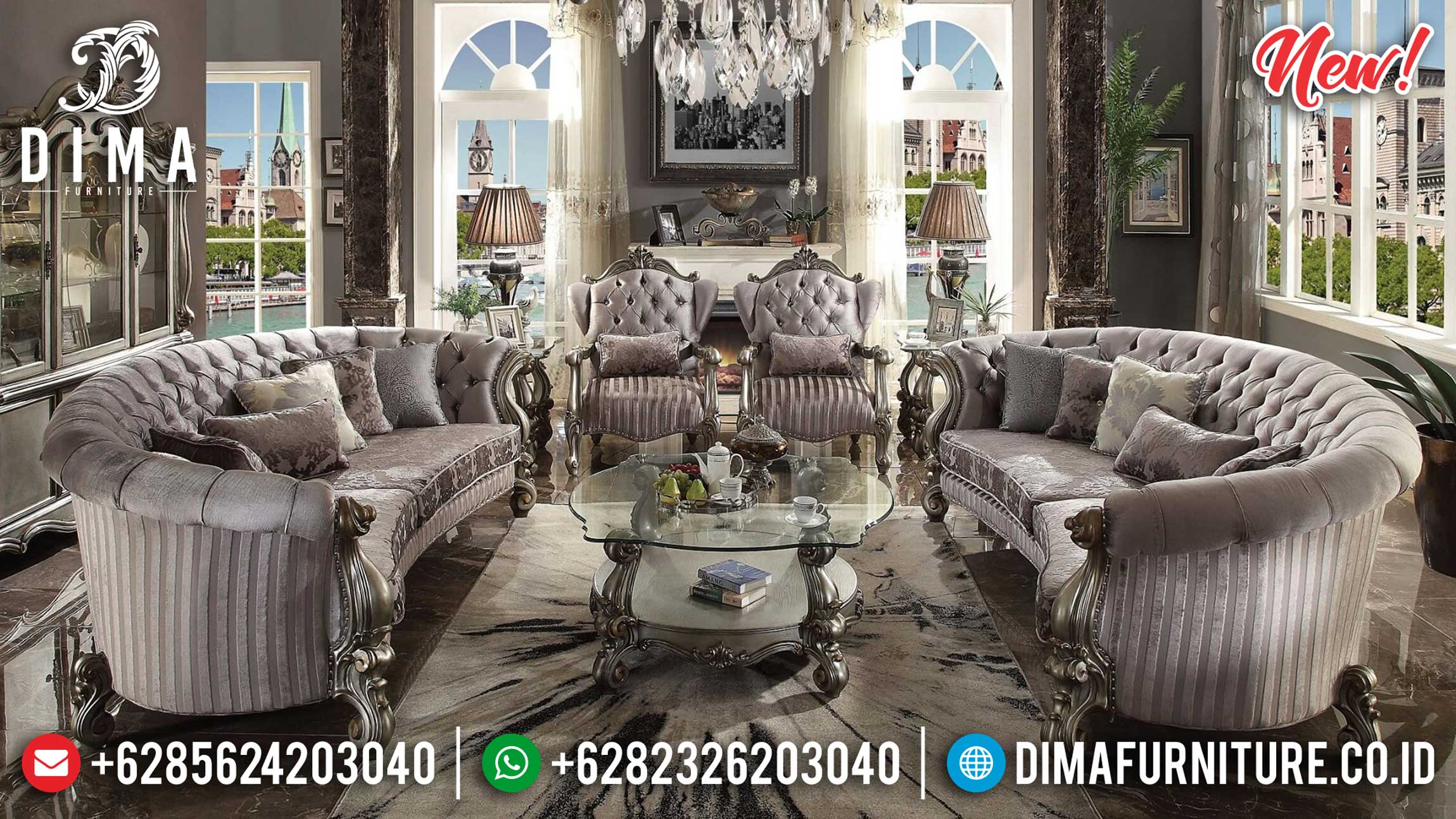 Jual Sofa Tamu Mewah Luxury Carving Silver Champagne New Color Style ST-1009