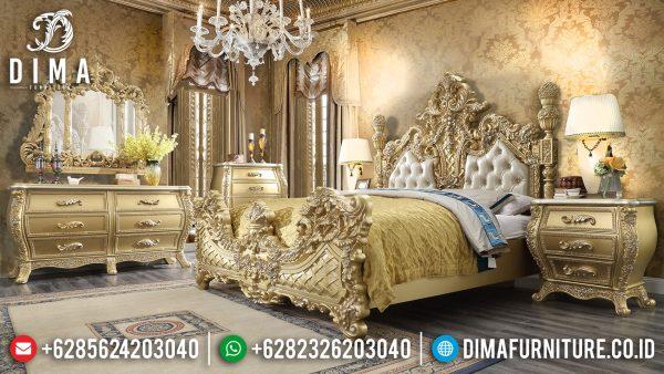 King Size Tempat Tidur Mewah Ukiran Luxury Golden Sunrise Glossy Color ST-1070