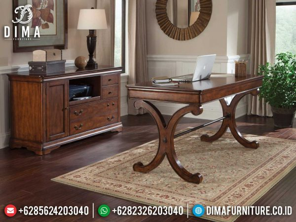 Meja Kantor Jati Minimalis Natural Salak Dark Brown Simple Design ST-1048