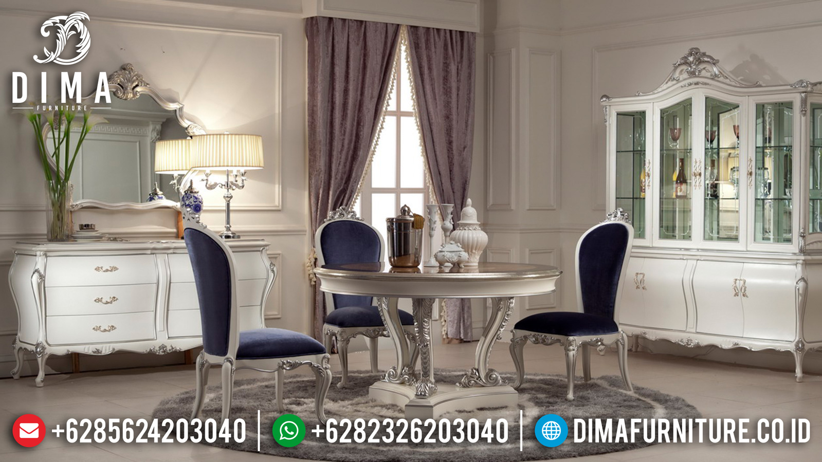 Meja Makan Mewah Bundar Luxury Classic White Ivory Duco Combination ST-1058
