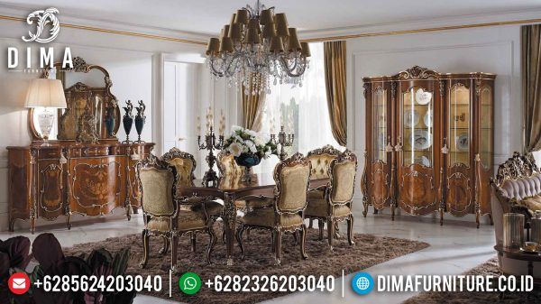Meja Makan Mewah Jati Natural Classic Combination Golden Carving Luxury ST-1056
