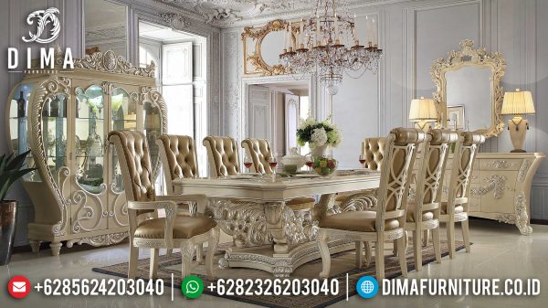 Meja Makan Mewah Ukiran Luxury Classic New Color White Ivory Glossy ST-1034