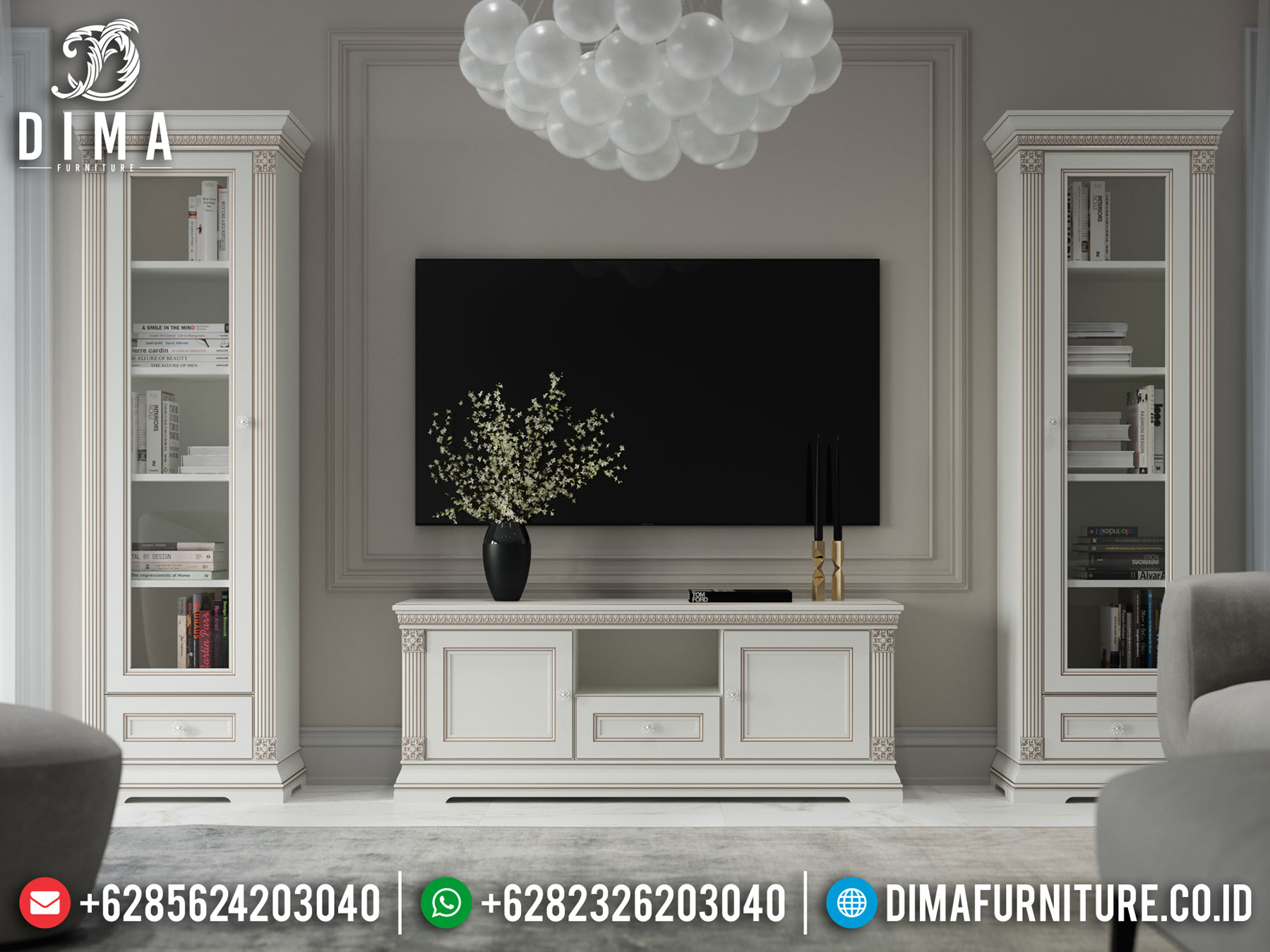 Model Bufet TV Minimalis Modern New Design White Duco Elegant Color ST-1021