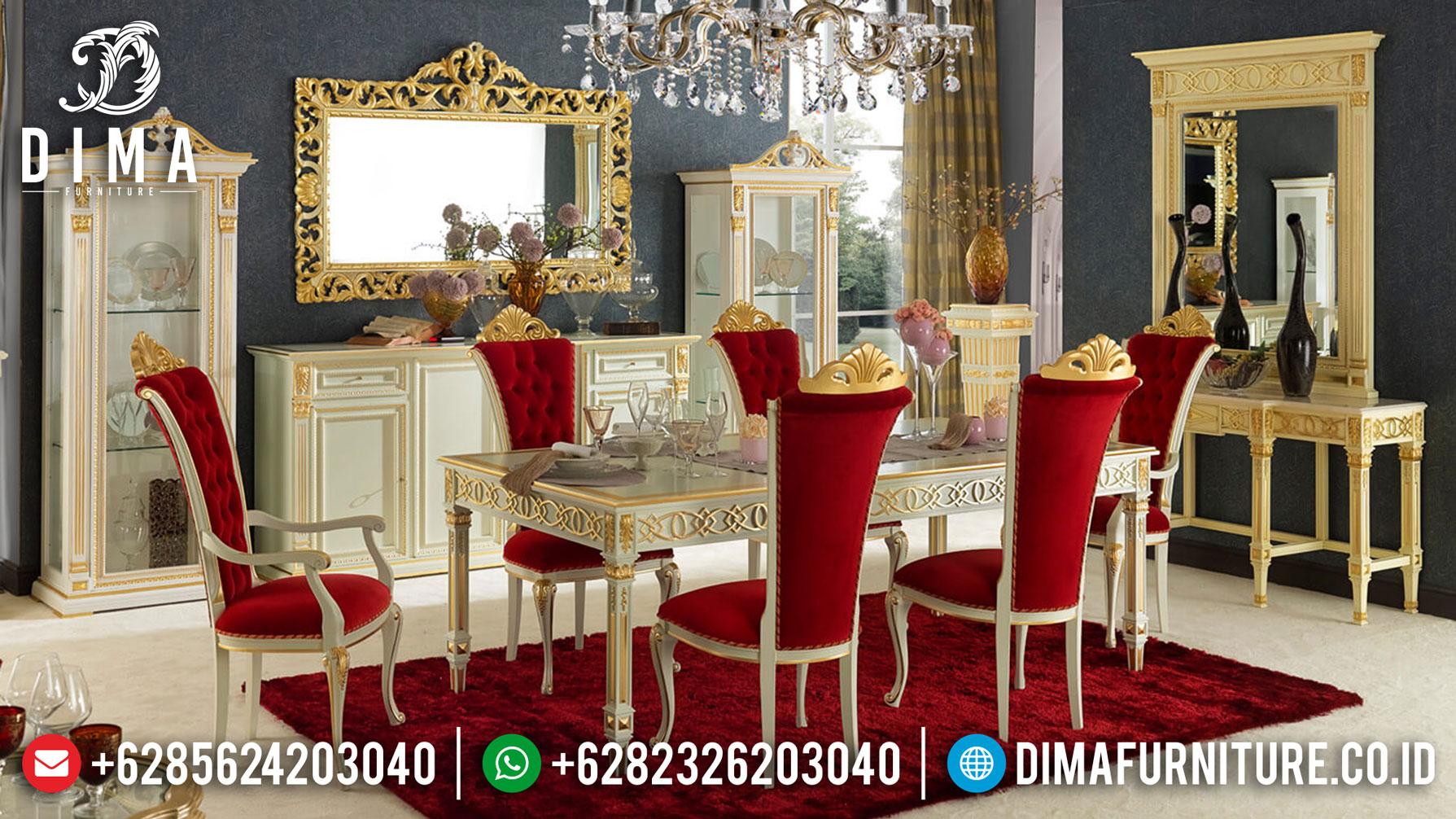 Model Meja Makan Mewah Ukiran Luxury Royals Red Velvet Soft Fabric ST-1032