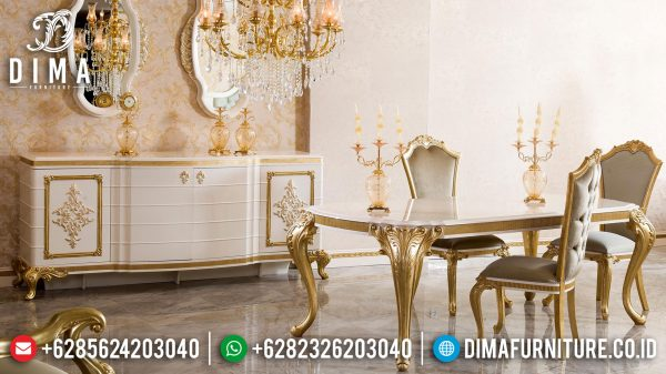 New Meja Makan Mewah Luxury Classic Golden Gloss Superior Design Inspiring ST-1036