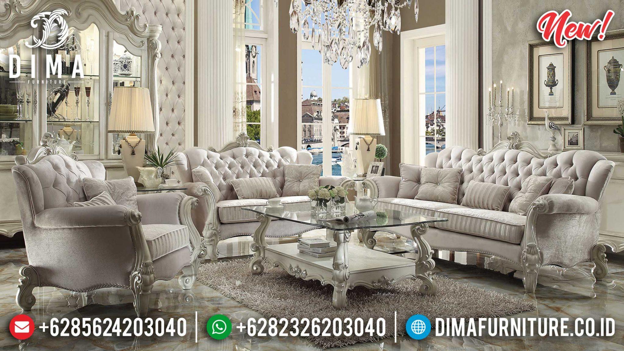 New Sofa Tamu Jepara Classic Design Luxury Carving Putih Ivory ST-1006