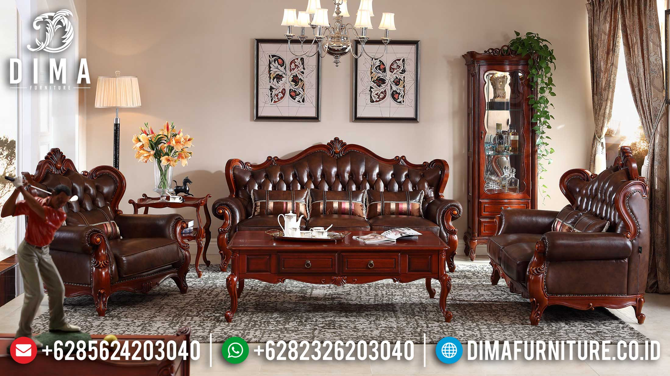 Order Now Sofa Tamu Mewah Jepara Natural Jati Klasik Luxury Living Room Design ST-1014