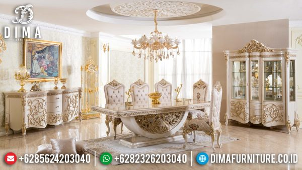 Set Meja Makan Mewah 8 Kursi Luxury Carving Design Interior Inspiring ST-1057