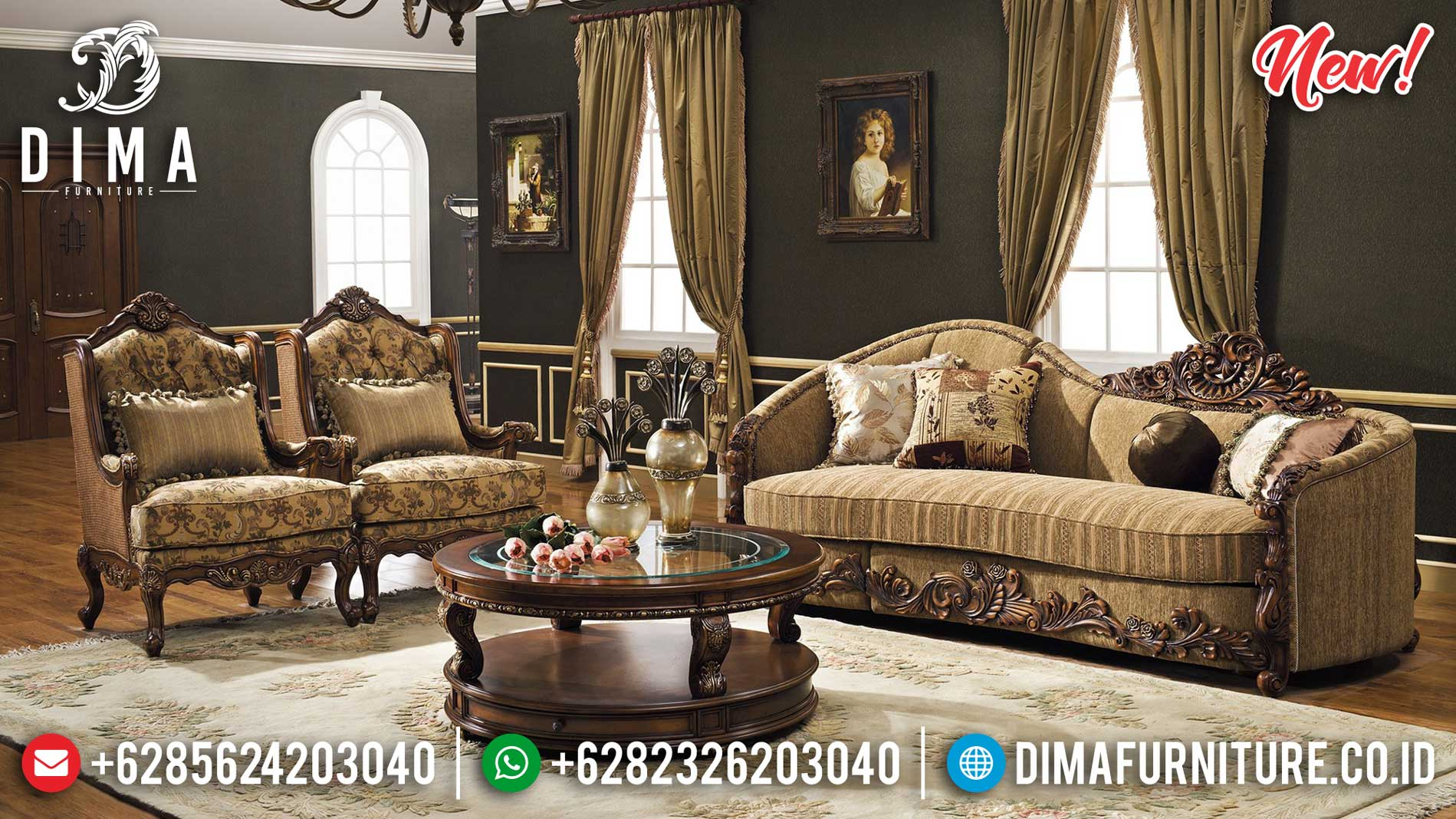 Set Sofa Tamu Mewah Jepara Luxury Type Solid Wood Grade A Mebel Jepara ST-1001