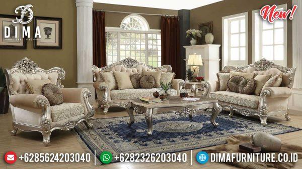 Set Sofa Tamu Mewah Luxury Design Best Silver Glossy Color Furniture Jepara ST-1003