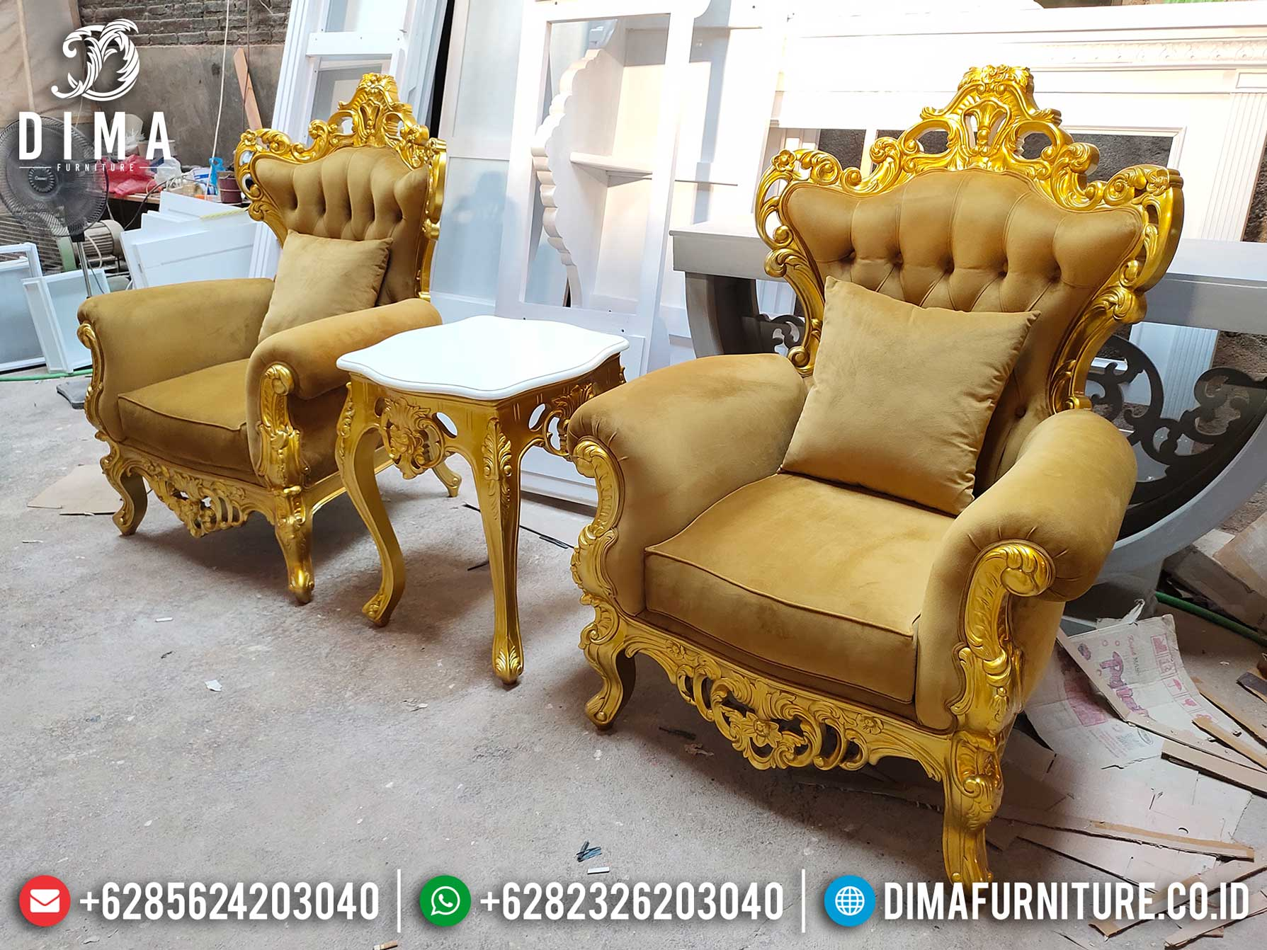 Sofa Tamu Mewah Single Seater Luxury Carving New Golden Young Color ST-0997