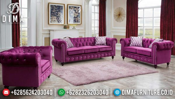 Sofa Tamu Minimalis Chesterfield Luxury Violet Soft Fabrict Best Item ST-0999