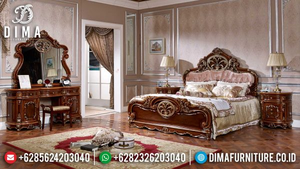 Best Model Kamar Set Mewah Terbaru Luxury Classic Natural Jati ST-1154