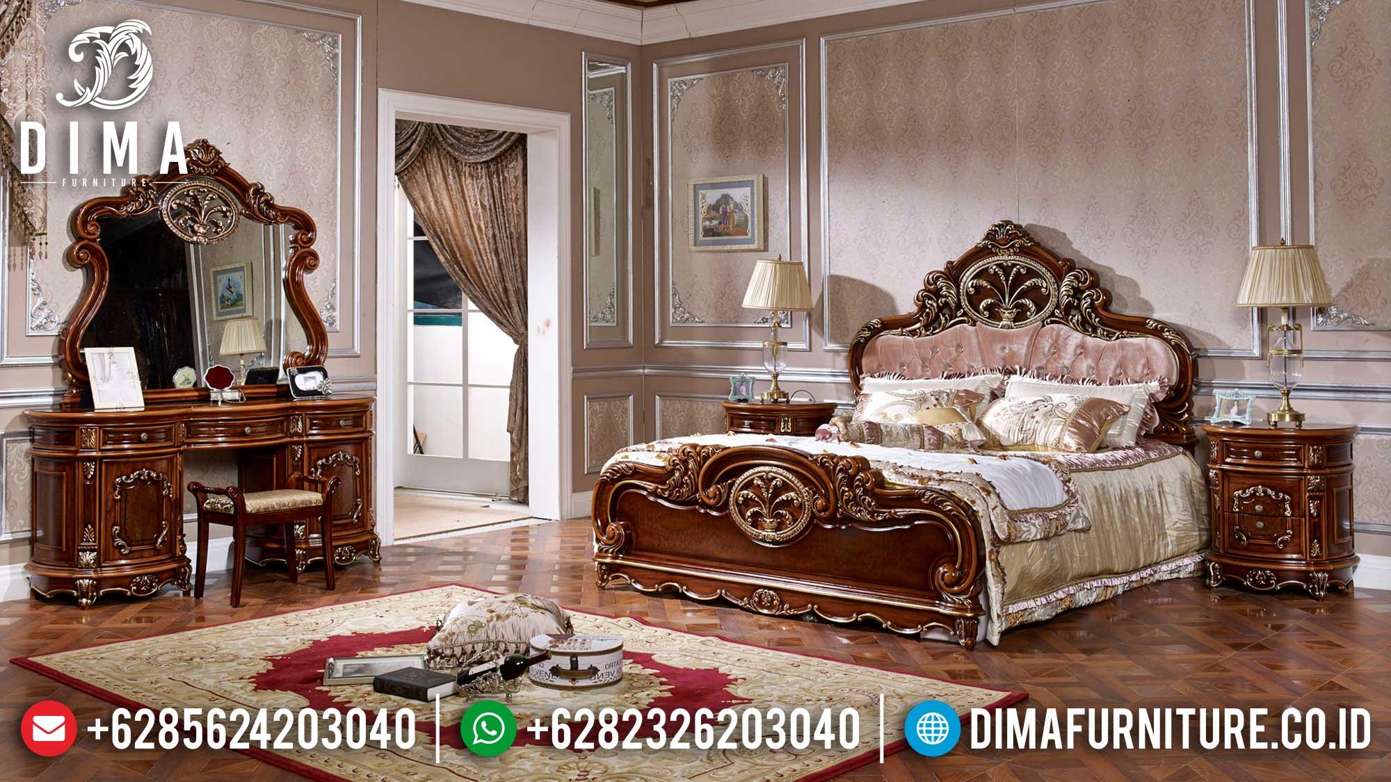 Best Model Kamar Set Mewah Terbaru Luxury Classic Natural Jati ST-1154