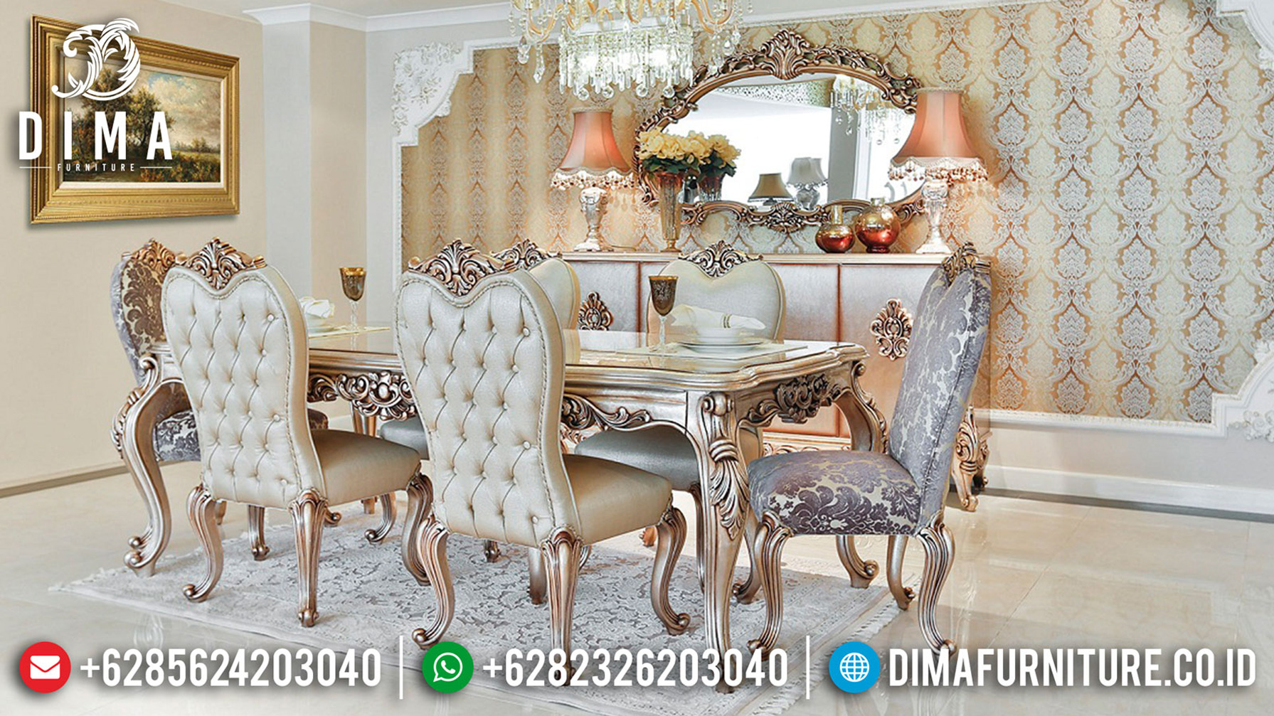 Buy Now Meja Makan Terbaru Desain Mewah Luxury Carving Jepara ST-1156