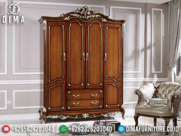 Classic Style Lemari Pakaian Mewah Jati Natural Golden Carving Combine Luxury Jepara ST-1103