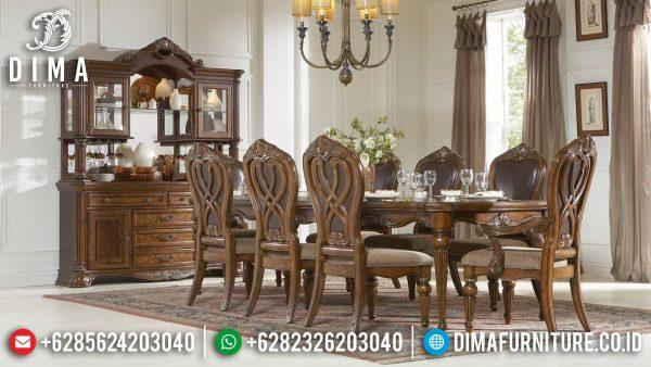 Desain Meja Makan Minimalis Klasik Gorgeous Natural Jati Perhutani ST-1128