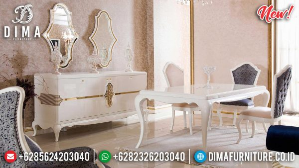 Excellent meja makan minimalis white duco luxury best selling 2021 ST-1168
