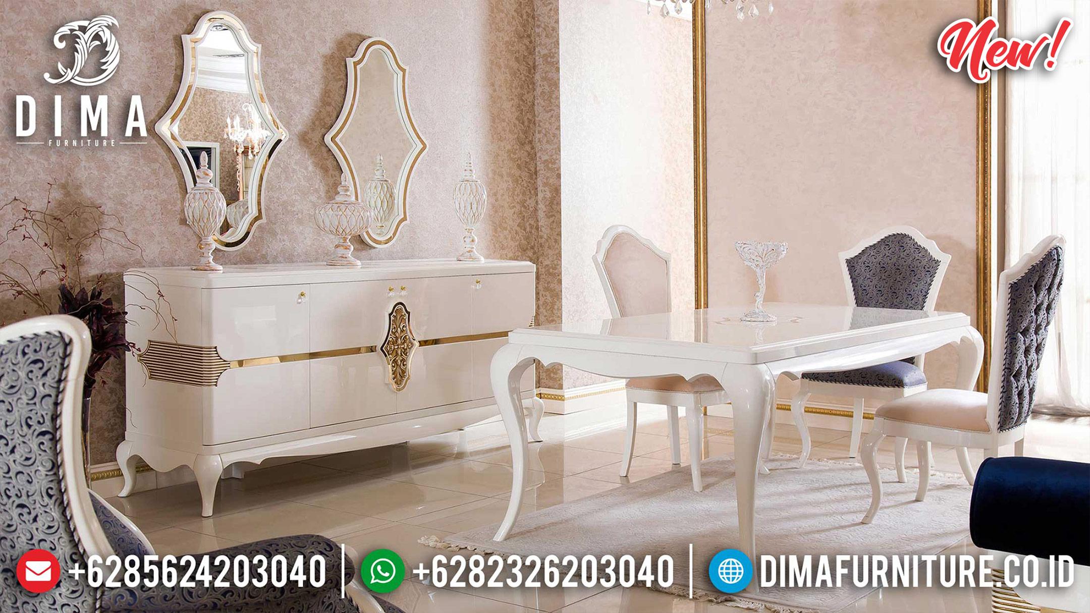 Excellent meja makan minimalis white duco luxury best selling 2021 ST-1168