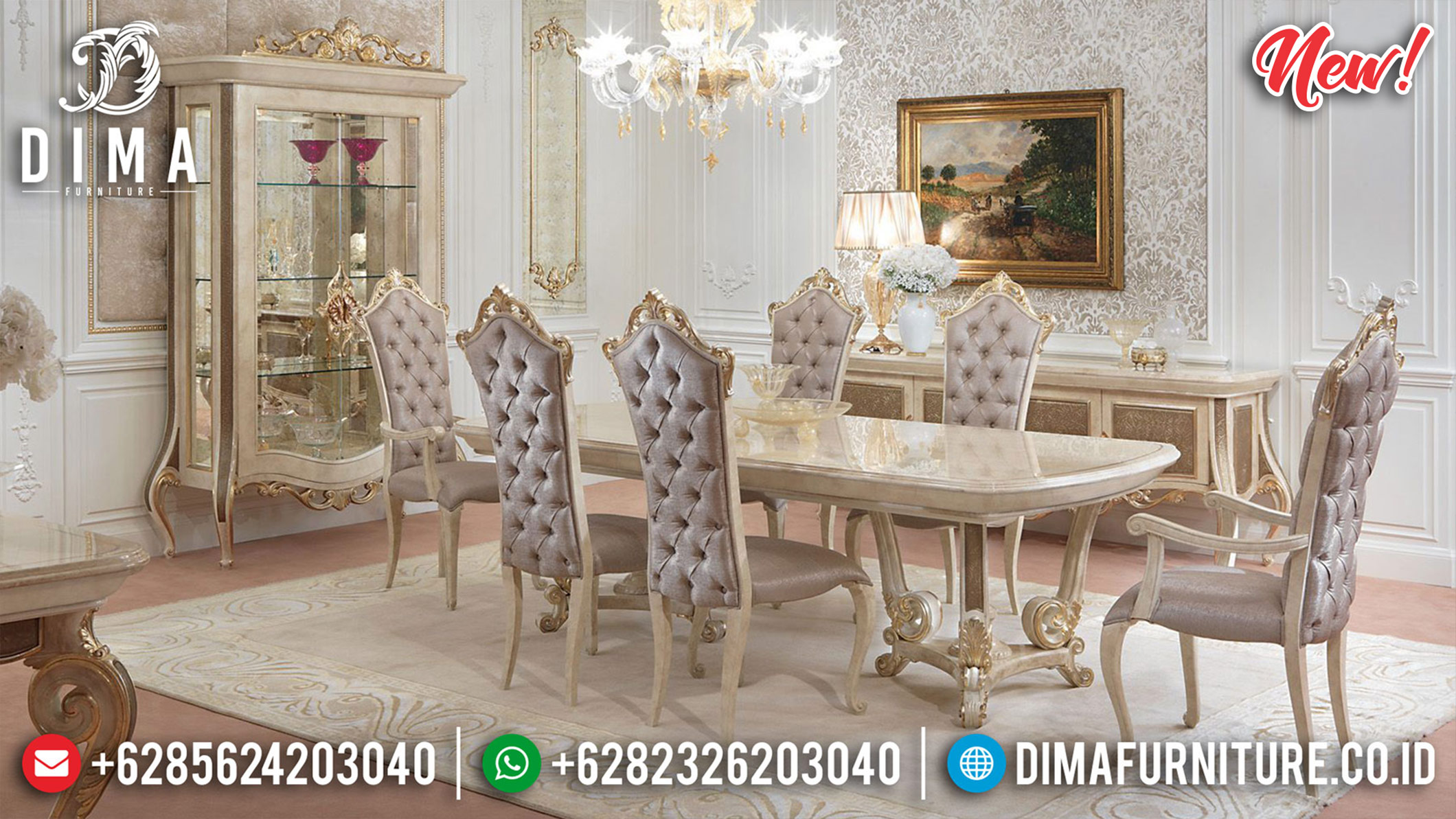 Get It Now Set Meja Makan Mewah Classic Luxury Golden Glow Imperial Design ST-1170