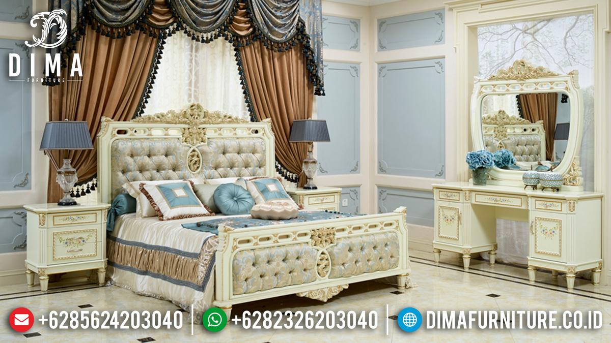 Harga Set Tempat Tidur Mewah Luxury Carving Jepara Excellent White Duco Combine ST-1148
