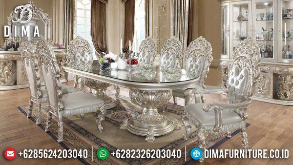 Highest Set Meja Makan Mewah Ukiran Jepara Luxury Champagne Color Glossy ST-1120