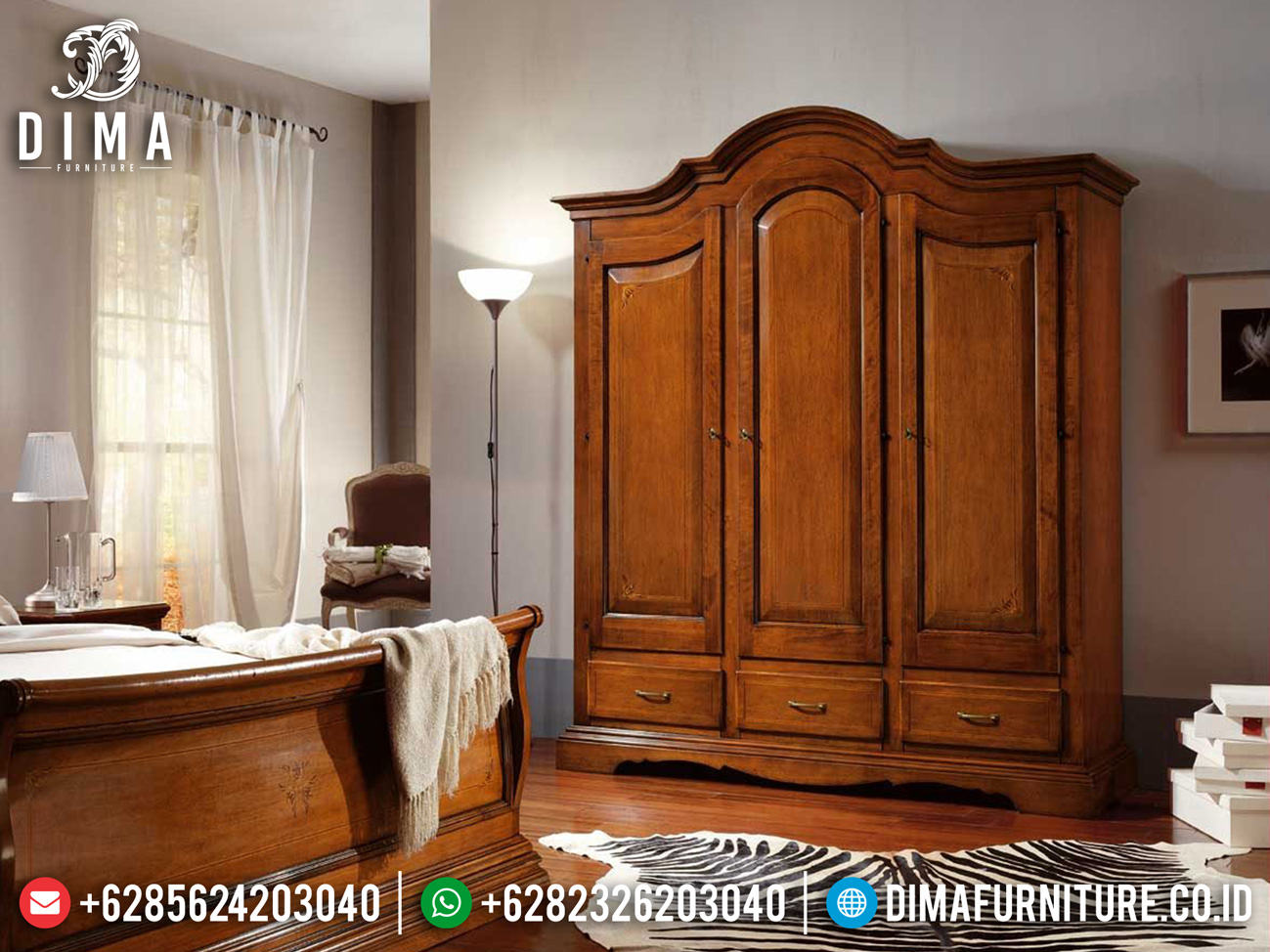 Jual Lemari Pakaian Jati Minimalis Natural Klasik High Quality Solid Wood ST-1100