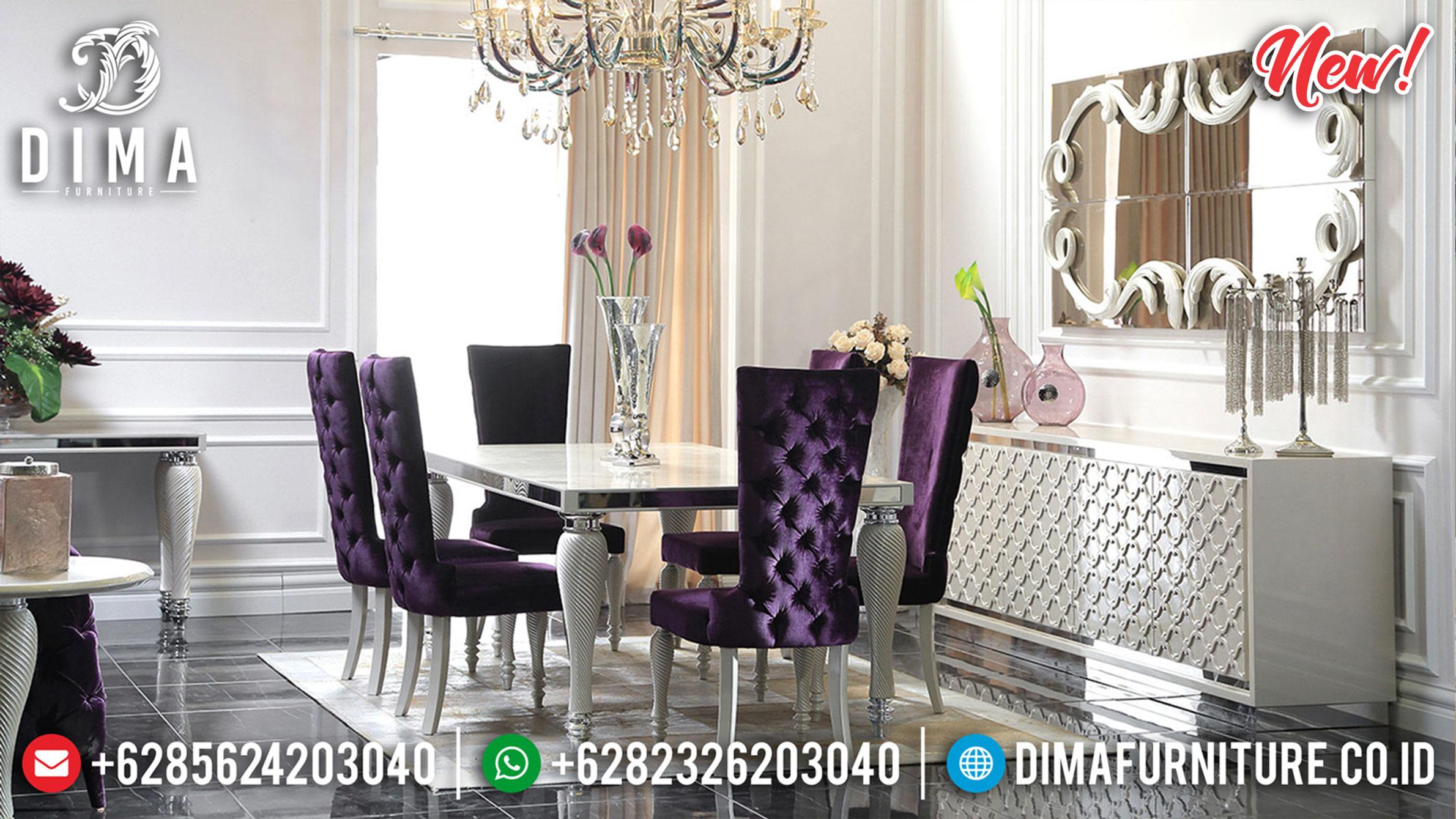 Jual Set Meja Makan Mewah Minimalis Silver Shine Color Luxurious Furniture Jepara ST-1167