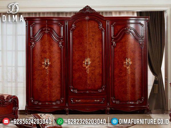 Lemari Pakaian Mewah Kayu Jati Natural Luxury Classic Kombinasi Terbaru ST-1095
