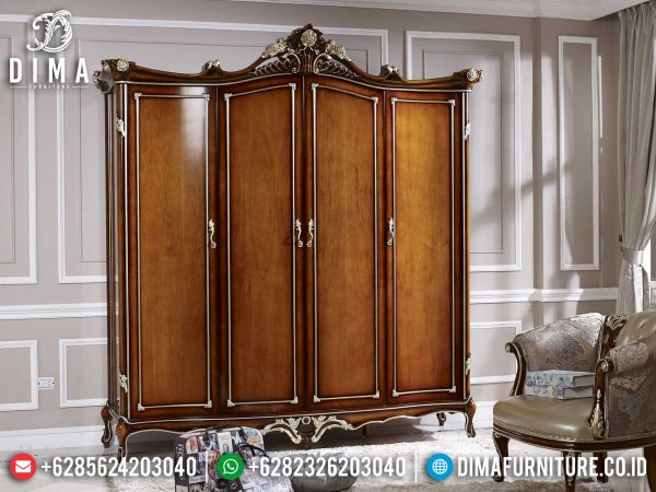 Lemari Pakaian Mewah, Lemari Baju Kayu Jati Luxury, Almari Pakaian Jati Natural Terbaru ST-1099