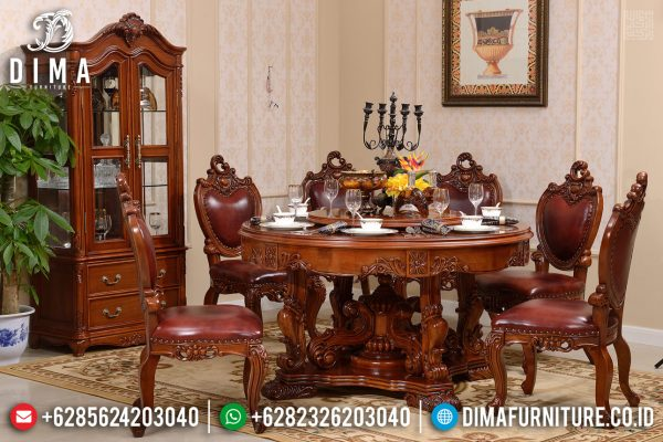 Meja Makan Bundar Jati Luxury Carving Classik Natural Salak Brown Color ST-1113