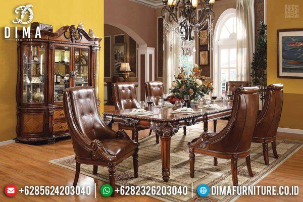 Meja Makan Klasik Jepara Kayu Jati Perhutani Natural Amber Color ST-1112