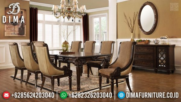 Meja Makan Mewah Klasik Jepara Luxury Carving Natural Jati Brown Color ST-1109
