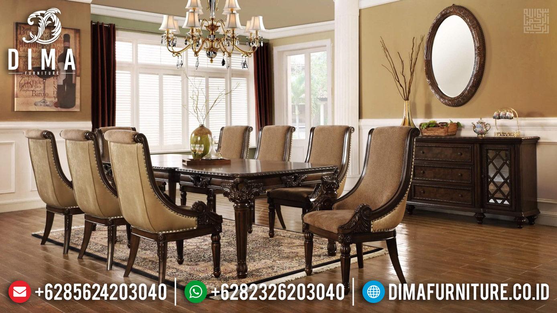 Meja Makan Mewah Klasik Jepara Luxury Carving Natural Jati Brown Color ST-1109