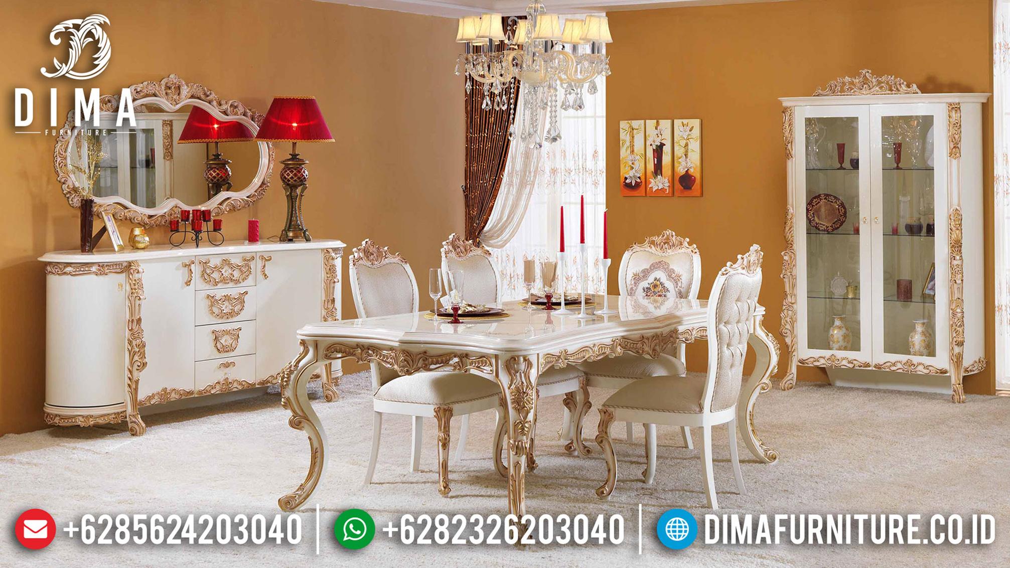 Meja Makan Mewah Terbaru Luxury Carving Jepara Best Sale ST-1155