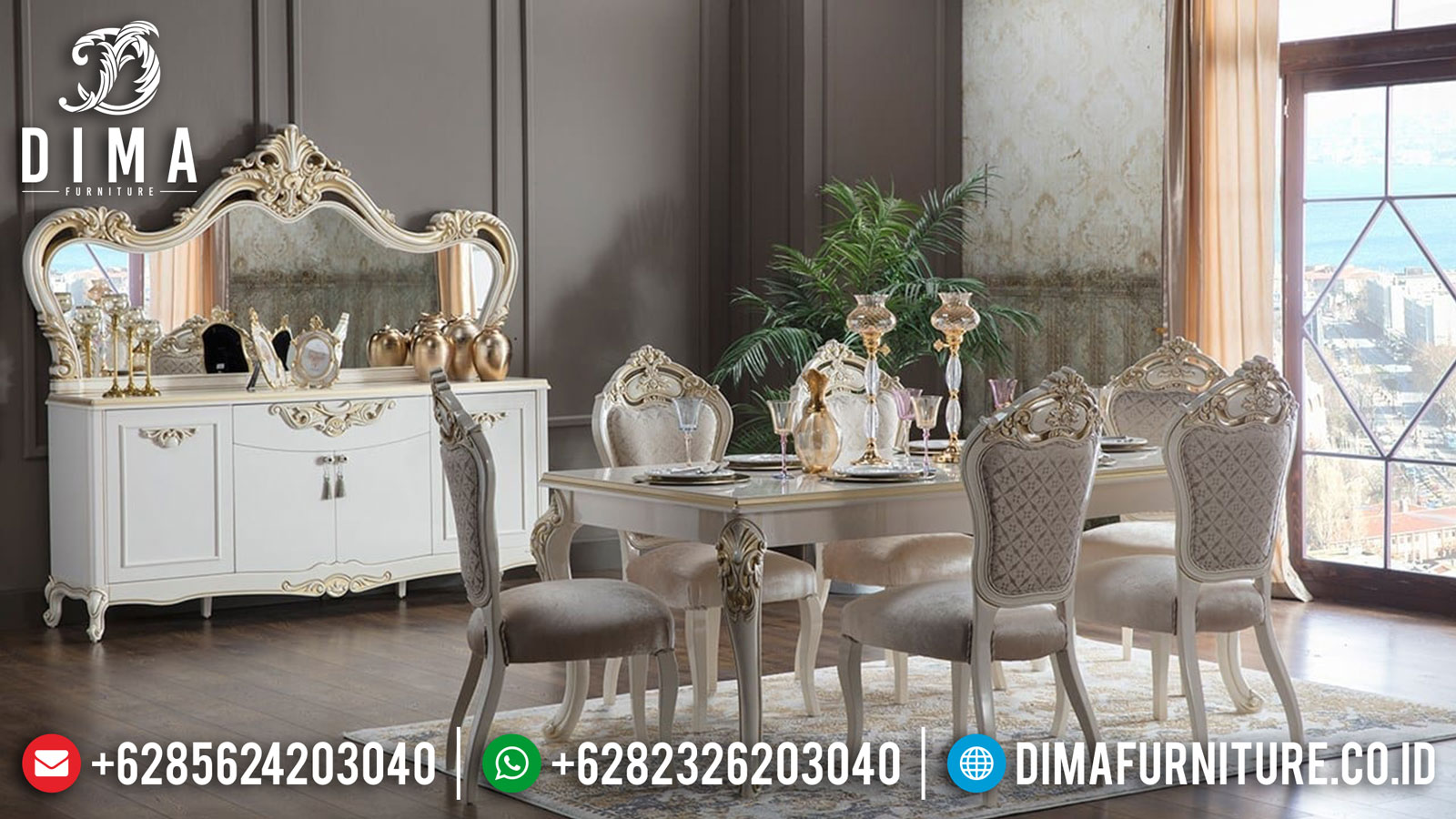 Meja Makan Mewah Ukir Jepara High Luxury Design Comfortable ST-1126