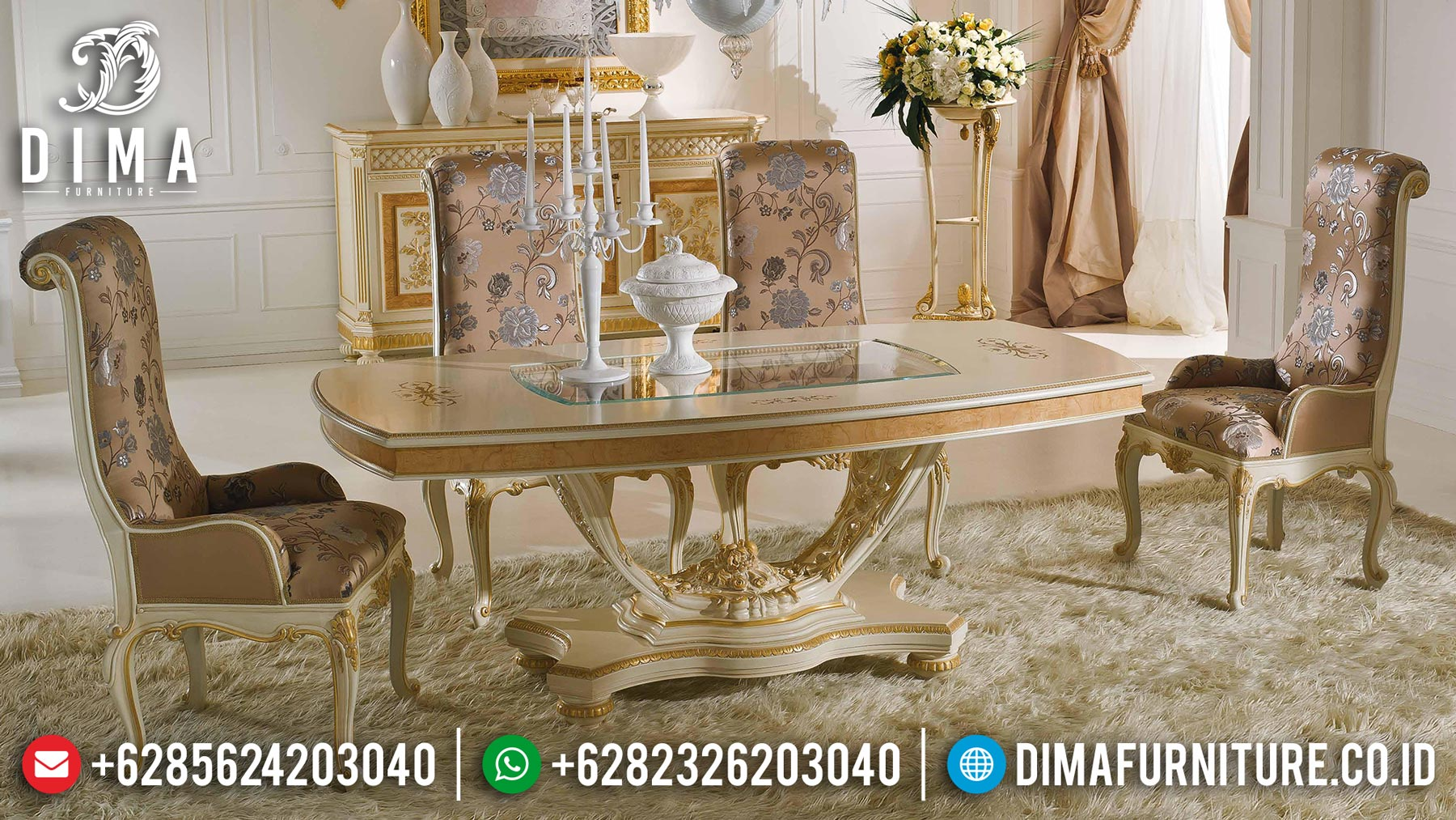 Meja Makan Mewah Ukiran Jepara Luxury Carving Perfect Color Combiantion ST-1121