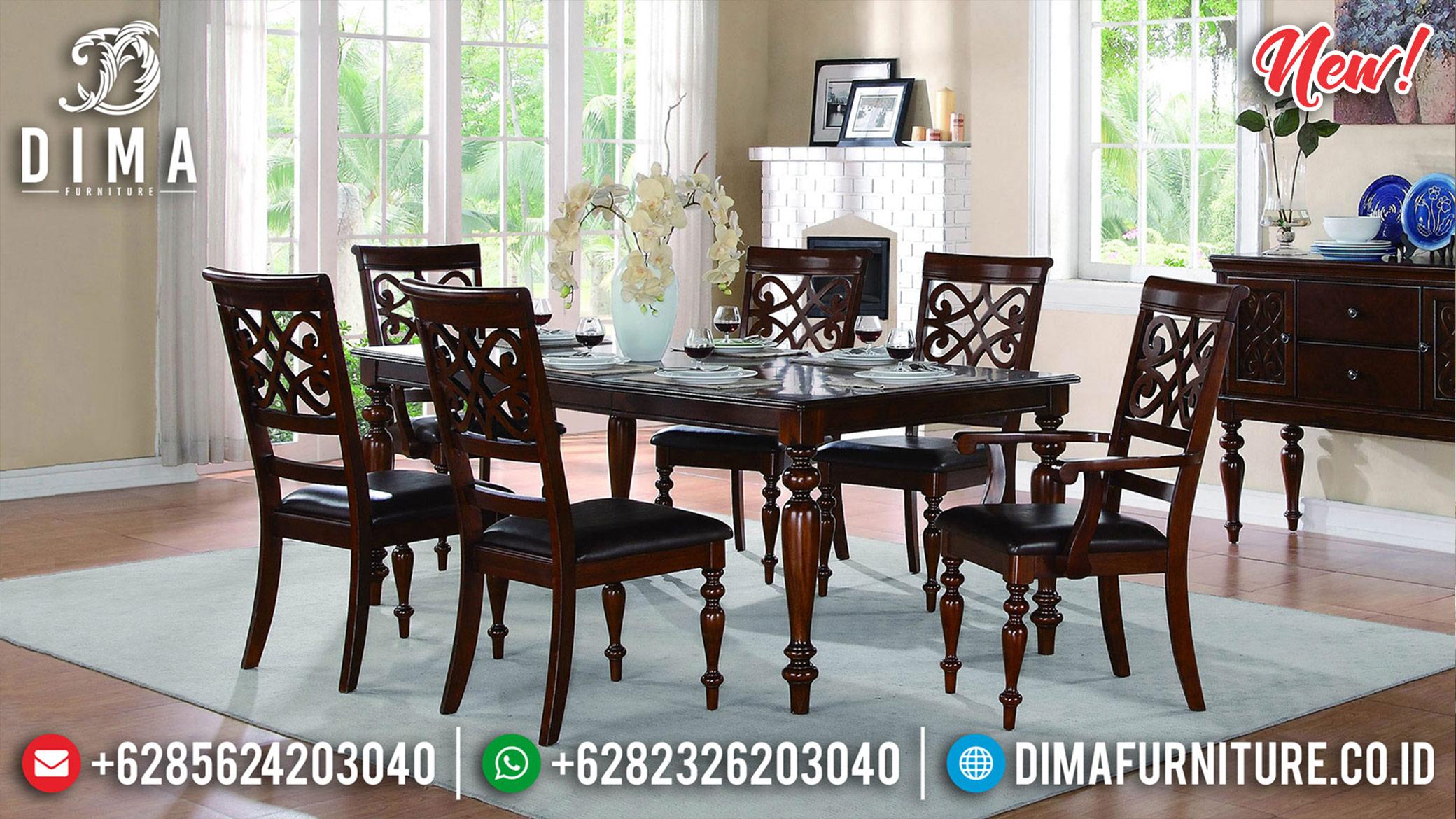 Meja Makan Minimalis Jati Natural Salak Dark Furniture Jepara Luxury ST-1163