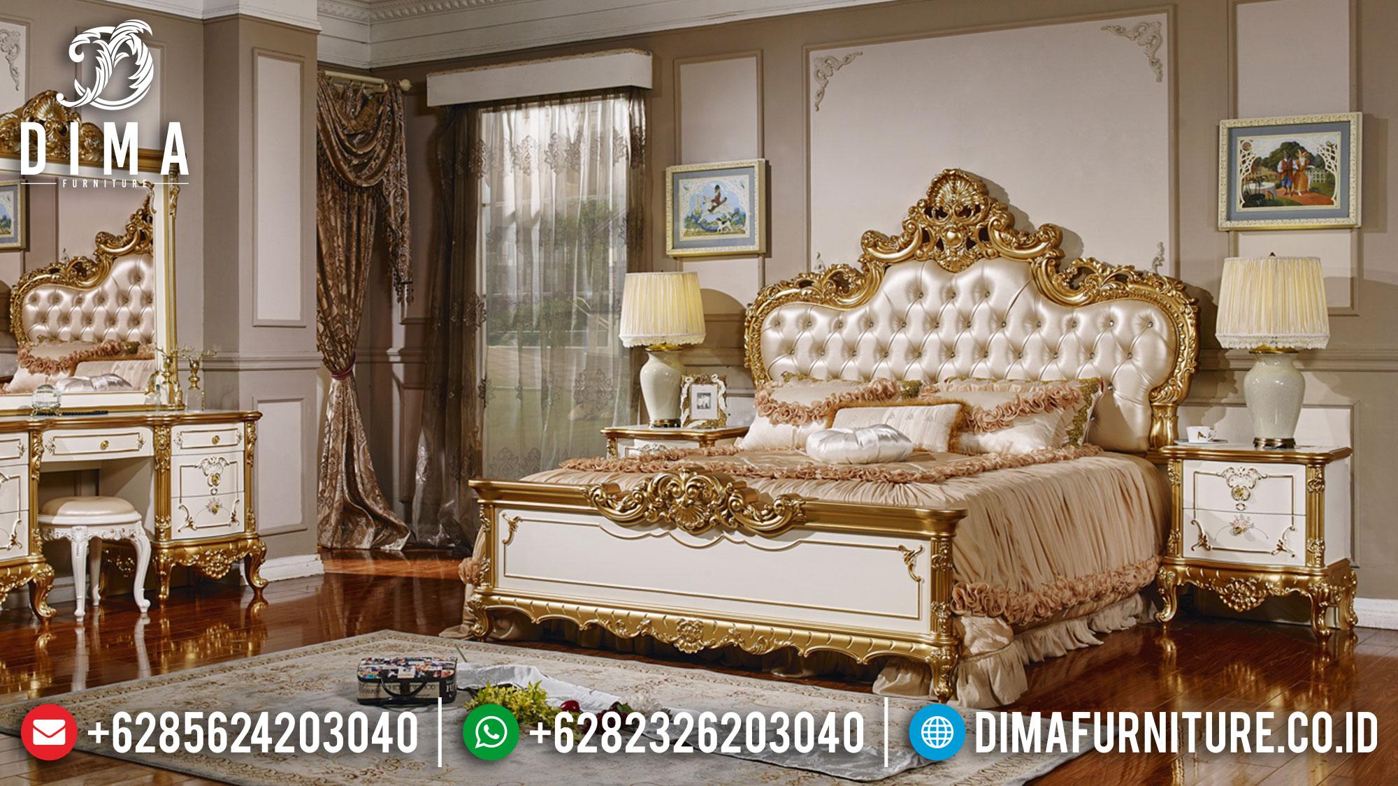New Model Tempat Tidur Mewah Ukiran Luxury Wonderful Golden Light Color ST-1145
