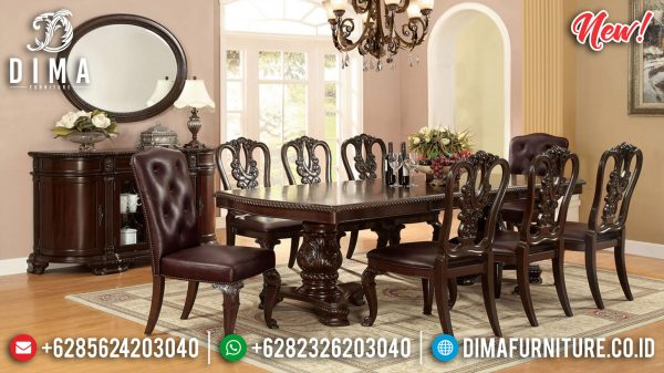 Set Meja Makan Jati Natural Minimalis Classic Best Solid Wood Perhutani ST-1164
